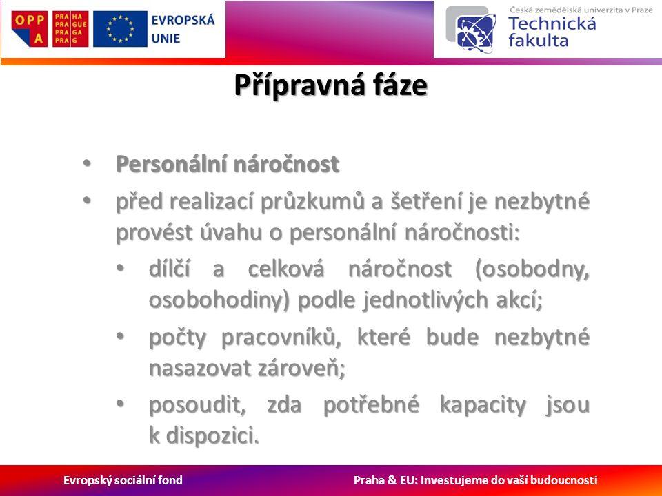 Evropský sociální fond Praha & EU: Investujeme do vaší budoucnosti Přípravná fáze Personální náročnost Personální náročnost před realizací průzkumů a šetření je nezbytné provést úvahu o personální náročnosti: před realizací průzkumů a šetření je nezbytné provést úvahu o personální náročnosti: dílčí a celková náročnost (osobodny, osobohodiny) podle jednotlivých akcí; dílčí a celková náročnost (osobodny, osobohodiny) podle jednotlivých akcí; počty pracovníků, které bude nezbytné nasazovat zároveň; počty pracovníků, které bude nezbytné nasazovat zároveň; posoudit, zda potřebné kapacity jsou k dispozici.