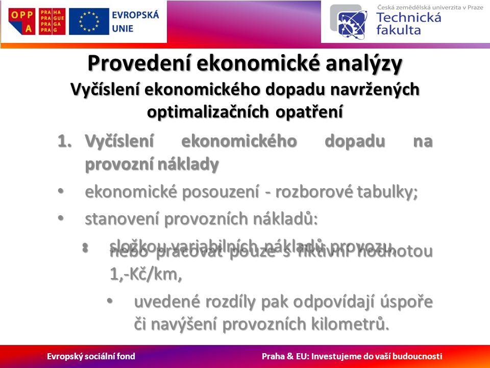 Evropský sociální fond Praha & EU: Investujeme do vaší budoucnosti Provedení ekonomické analýzy Vyčíslení ekonomického dopadu navržených optimalizačních opatření 1.Vyčíslení ekonomického dopadu na provozní náklady ekonomické posouzení - rozborové tabulky; ekonomické posouzení - rozborové tabulky; stanovení provozních nákladů: stanovení provozních nákladů: složkou variabilních nákladů provozu, složkou variabilních nákladů provozu, nebo pracovat pouze s fiktivní hodnotou 1,-Kč/km, nebo pracovat pouze s fiktivní hodnotou 1,-Kč/km, uvedené rozdíly pak odpovídají úspoře či navýšení provozních kilometrů.