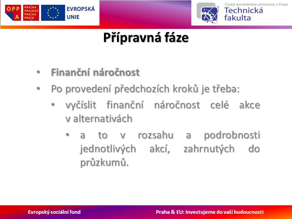Evropský sociální fond Praha & EU: Investujeme do vaší budoucnosti Přípravná fáze Finanční náročnost Finanční náročnost Po provedení předchozích kroků je třeba: Po provedení předchozích kroků je třeba: vyčíslit finanční náročnost celé akce v alternativách vyčíslit finanční náročnost celé akce v alternativách a to v rozsahu a podrobnosti jednotlivých akcí, zahrnutých do průzkumů.