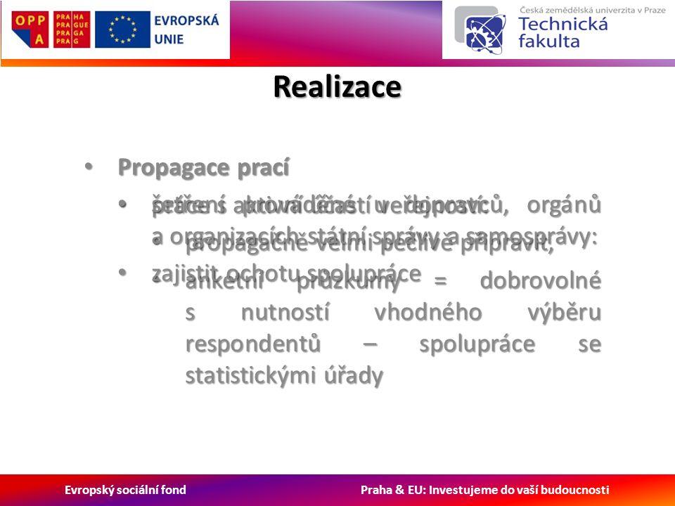 Evropský sociální fond Praha & EU: Investujeme do vaší budoucnosti Realizace Propagace prací Propagace prací práce s aktivní účastí veřejností: práce s aktivní účastí veřejností: propagačně velmi pečlivě připravit, propagačně velmi pečlivě připravit, anketní průzkumy = dobrovolné s nutností vhodného výběru respondentů – spolupráce se statistickými úřady anketní průzkumy = dobrovolné s nutností vhodného výběru respondentů – spolupráce se statistickými úřady šetření prováděné u dopravců, orgánů a organizacích státní správy a samosprávy: šetření prováděné u dopravců, orgánů a organizacích státní správy a samosprávy: zajistit ochotu spolupráce zajistit ochotu spolupráce