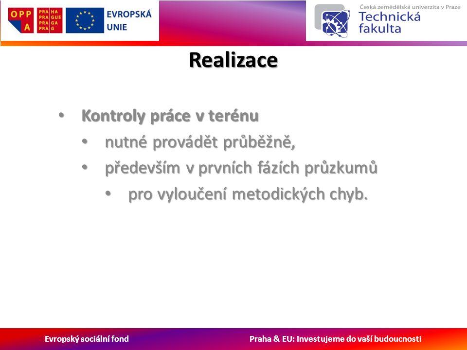 Evropský sociální fond Praha & EU: Investujeme do vaší budoucnosti Realizace Kontroly práce v terénu Kontroly práce v terénu nutné provádět průběžně, nutné provádět průběžně, především v prvních fázích průzkumů především v prvních fázích průzkumů pro vyloučení metodických chyb.