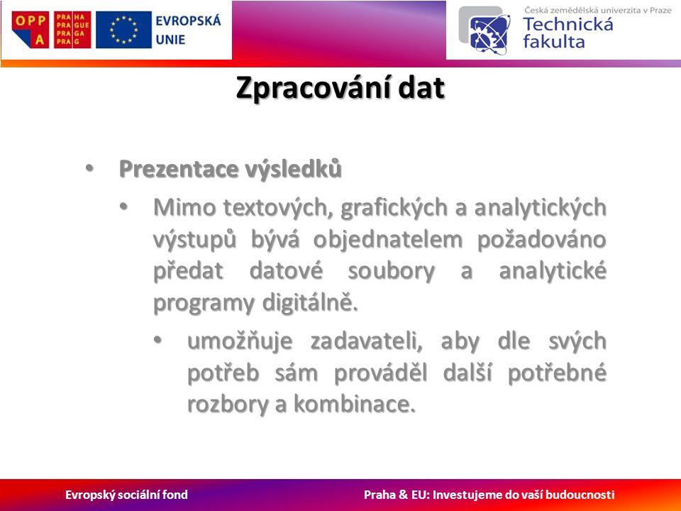 Evropský sociální fond Praha & EU: Investujeme do vaší budoucnosti Zpracování dat Prezentace výsledků Prezentace výsledků Mimo textových, grafických a analytických výstupů bývá objednatelem požadováno předat datové soubory a analytické programy digitálně.