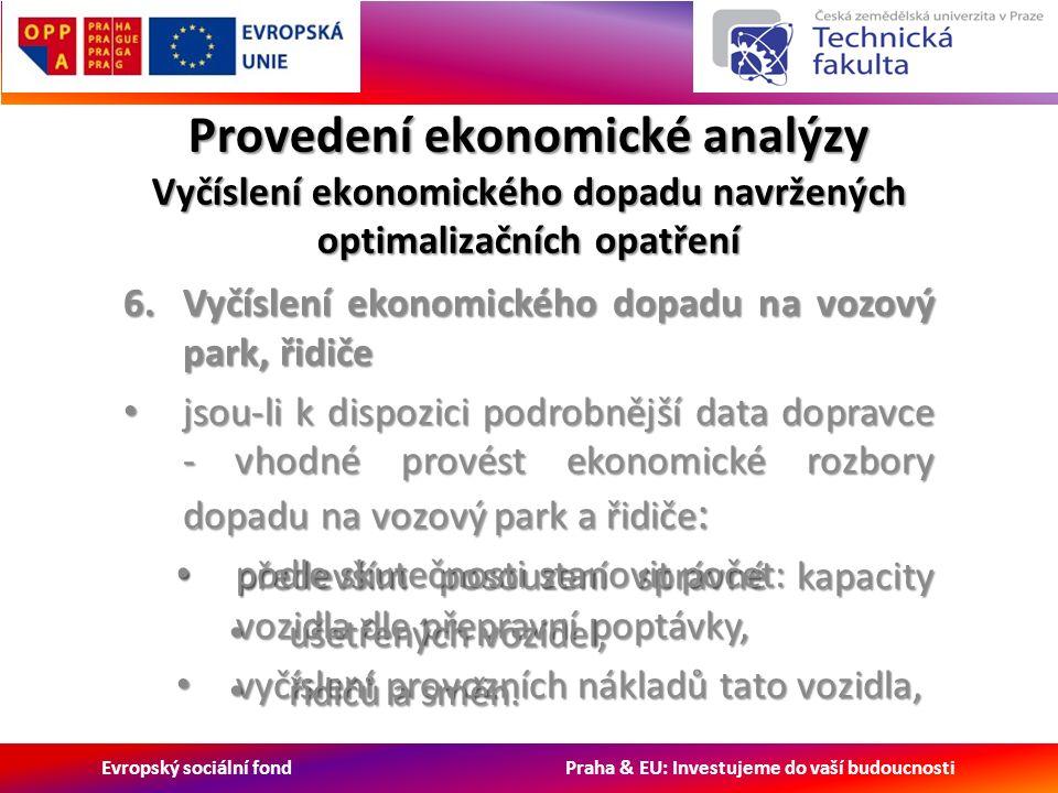 Evropský sociální fond Praha & EU: Investujeme do vaší budoucnosti Provedení ekonomické analýzy Vyčíslení ekonomického dopadu navržených optimalizačních opatření 6.Vyčíslení ekonomického dopadu na vozový park, řidiče jsou-li k dispozici podrobnější data dopravce - vhodné provést ekonomické rozbory dopadu na vozový park a řidiče : jsou-li k dispozici podrobnější data dopravce - vhodné provést ekonomické rozbory dopadu na vozový park a řidiče : především posouzení správné kapacity vozidla dle přepravní poptávky, především posouzení správné kapacity vozidla dle přepravní poptávky, vyčíslení provozních nákladů tato vozidla, vyčíslení provozních nákladů tato vozidla, podle skutečnosti stanovit počet: podle skutečnosti stanovit počet: ušetřených vozidel, ušetřených vozidel, řidičů a směn.