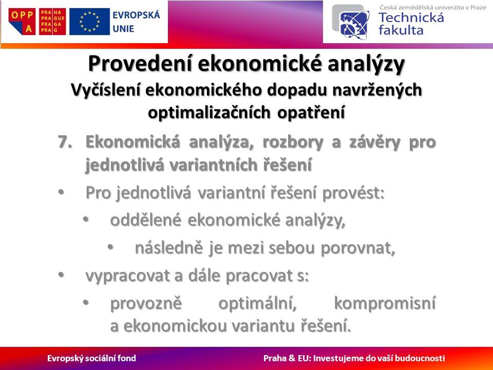 Evropský sociální fond Praha & EU: Investujeme do vaší budoucnosti Provedení ekonomické analýzy Vyčíslení ekonomického dopadu navržených optimalizačních opatření 7.Ekonomická analýza, rozbory a závěry pro jednotlivá variantních řešení Pro jednotlivá variantní řešení provést: Pro jednotlivá variantní řešení provést: oddělené ekonomické analýzy, oddělené ekonomické analýzy, následně je mezi sebou porovnat, následně je mezi sebou porovnat, vypracovat a dále pracovat s: vypracovat a dále pracovat s: provozně optimální, kompromisní a ekonomickou variantu řešení.