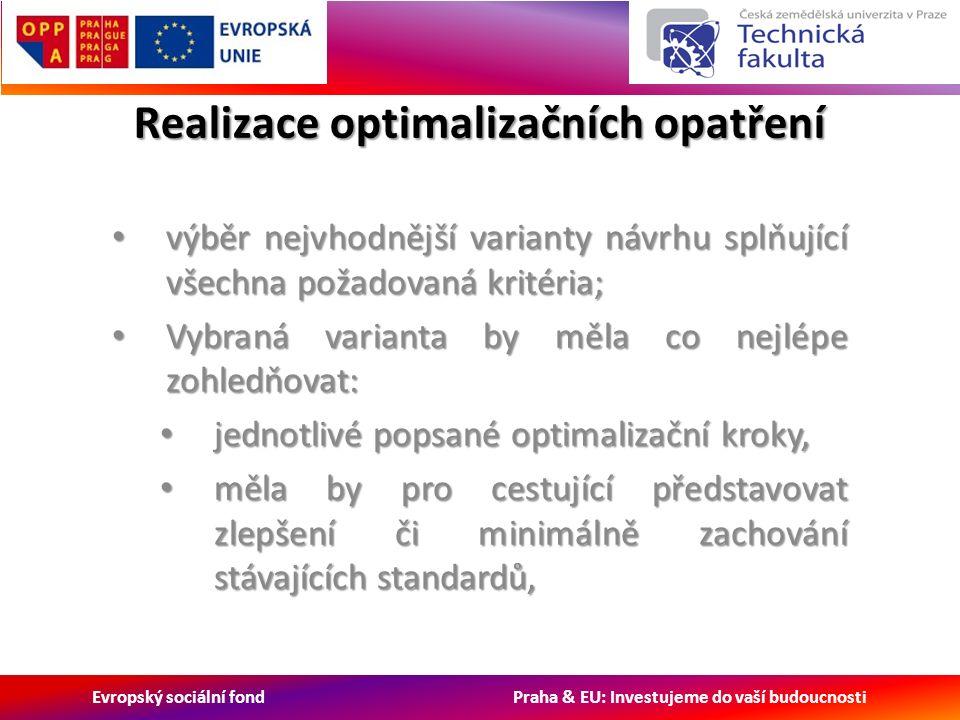 Evropský sociální fond Praha & EU: Investujeme do vaší budoucnosti Realizace optimalizačních opatření výběr nejvhodnější varianty návrhu splňující všechna požadovaná kritéria; výběr nejvhodnější varianty návrhu splňující všechna požadovaná kritéria; Vybraná varianta by měla co nejlépe zohledňovat: Vybraná varianta by měla co nejlépe zohledňovat: jednotlivé popsané optimalizační kroky, jednotlivé popsané optimalizační kroky, měla by pro cestující představovat zlepšení či minimálně zachování stávajících standardů, měla by pro cestující představovat zlepšení či minimálně zachování stávajících standardů,