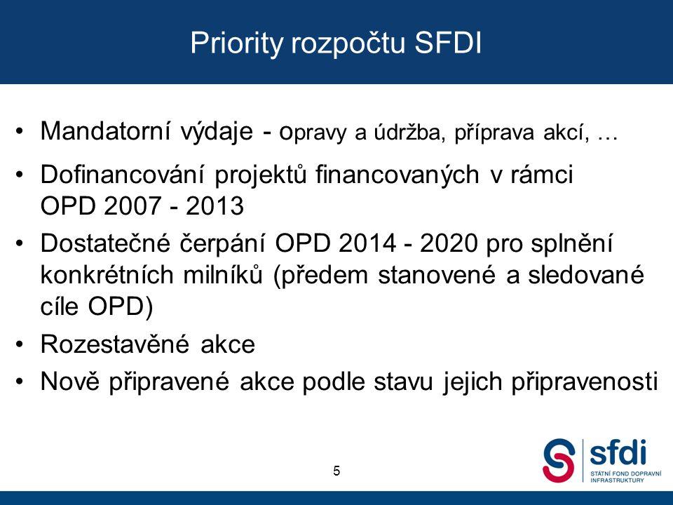 Priority rozpočtu SFDI Mandatorní výdaje - o pravy a údržba, příprava akcí, … Dofinancování projektů financovaných v rámci OPD 2007 - 2013 Dostatečné čerpání OPD 2014 - 2020 pro splnění konkrétních milníků (předem stanovené a sledované cíle OPD) Rozestavěné akce Nově připravené akce podle stavu jejich připravenosti 5