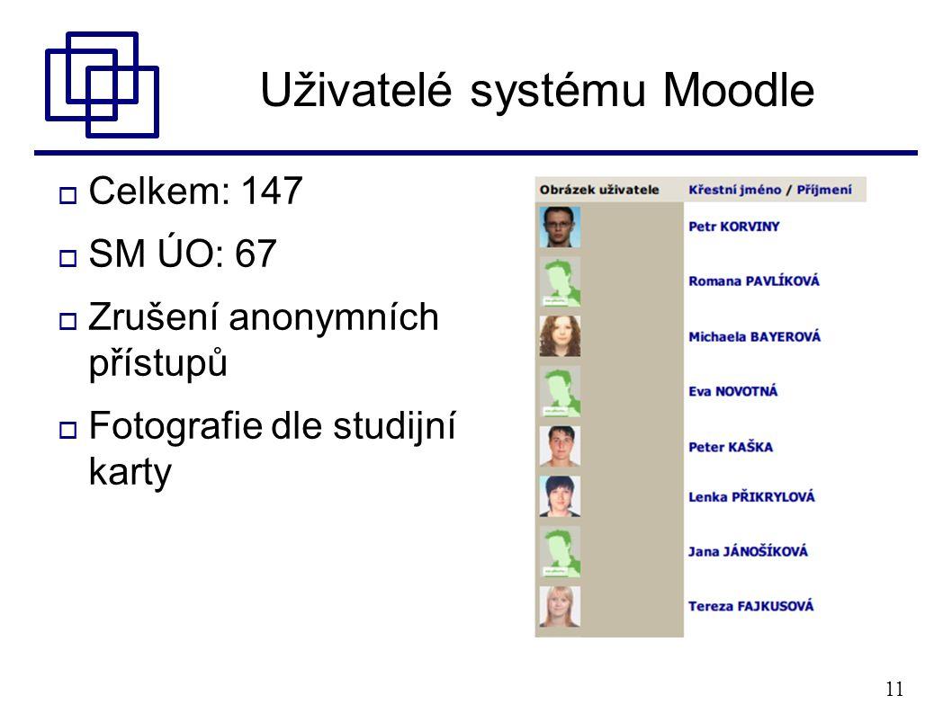 11 Uživatelé systému Moodle  Celkem: 147  SM ÚO: 67  Zrušení anonymních přístupů  Fotografie dle studijní karty
