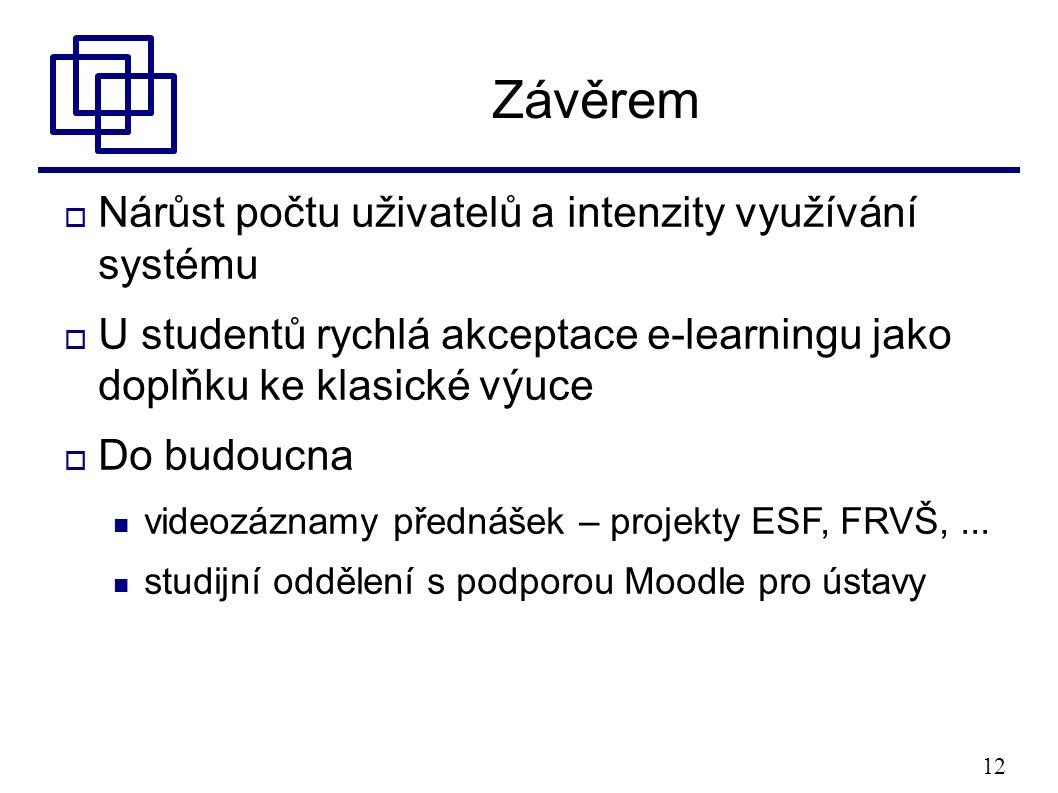 12 Závěrem  Nárůst počtu uživatelů a intenzity využívání systému  U studentů rychlá akceptace e-learningu jako doplňku ke klasické výuce  Do budoucna videozáznamy přednášek – projekty ESF, FRVŠ,...