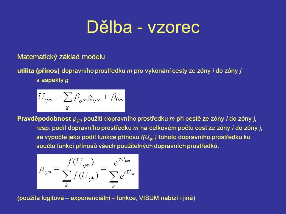 Dělba - vzorec Matematický základ modelu utilita (přínos) dopravního prostředku m pro vykonání cesty ze zóny i do zóny j s aspekty g Pravděpodobnost p ijm použití dopravního prostředku m při cestě ze zóny i do zóny j, resp.