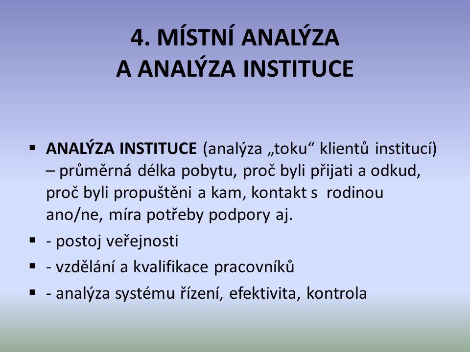 """4. MÍSTNÍ ANALÝZA A ANALÝZA INSTITUCE  ANALÝZA INSTITUCE (analýza """"toku"""" klientů institucí) – průměrná délka pobytu, proč byli přijati a odkud, proč"""