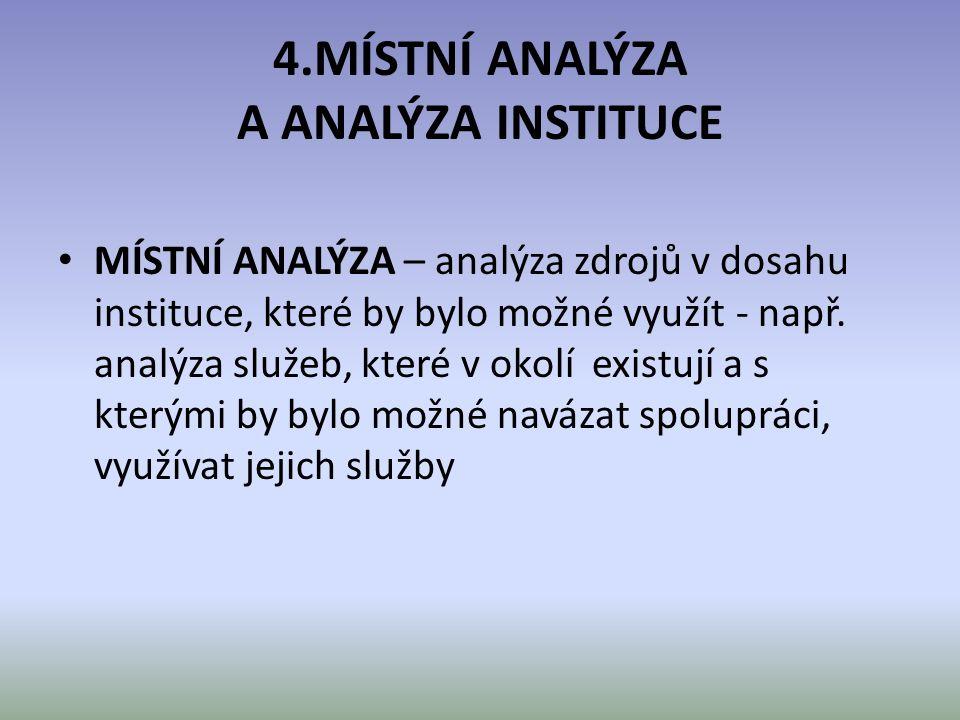 4.MÍSTNÍ ANALÝZA A ANALÝZA INSTITUCE MÍSTNÍ ANALÝZA – analýza zdrojů v dosahu instituce, které by bylo možné využít - např. analýza služeb, které v ok