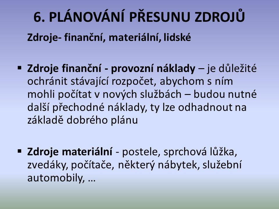 6. PLÁNOVÁNÍ PŘESUNU ZDROJŮ Zdroje- finanční, materiální, lidské  Zdroje finanční - provozní náklady – je důležité ochránit stávající rozpočet, abych
