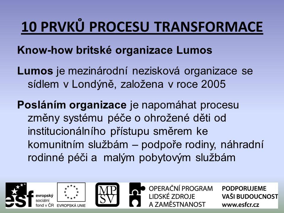10 PRVKŮ PROCESU TRANSFORMACE Know-how britské organizace Lumos Lumos je mezinárodní nezisková organizace se sídlem v Londýně, založena v roce 2005 Po