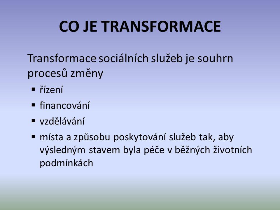 CO JE TRANSFORMACE Transformace sociálních služeb je souhrn procesů změny  řízení  financování  vzdělávání  místa a způsobu poskytování služeb tak