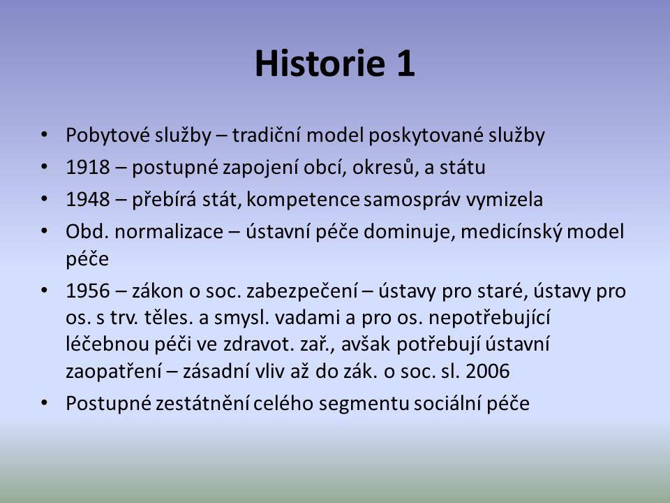 Historie 1 Pobytové služby – tradiční model poskytované služby 1918 – postupné zapojení obcí, okresů, a státu 1948 – přebírá stát, kompetence samosprá