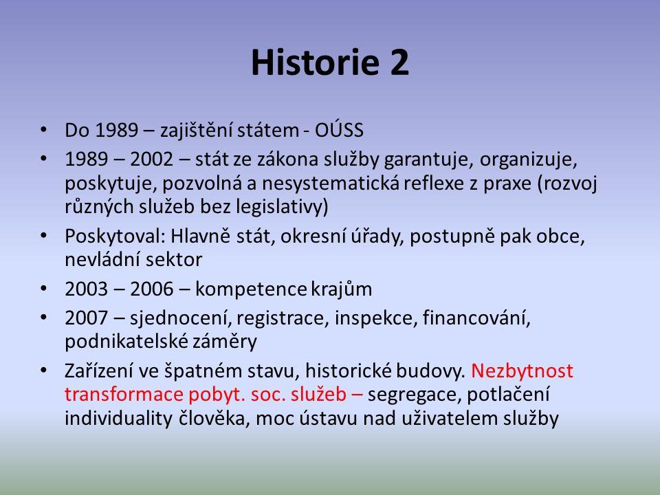 Historie 2 Do 1989 – zajištění státem - OÚSS 1989 – 2002 – stát ze zákona služby garantuje, organizuje, poskytuje, pozvolná a nesystematická reflexe z