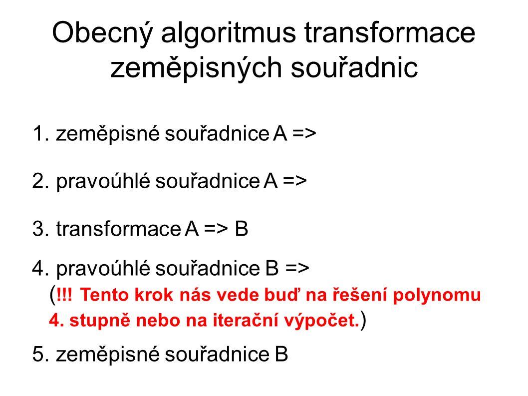 Obecný algoritmus transformace zeměpisných souřadnic 1. zeměpisné souřadnice A => 2. pravoúhlé souřadnice A => 3. transformace A => B 4. pravoúhlé sou