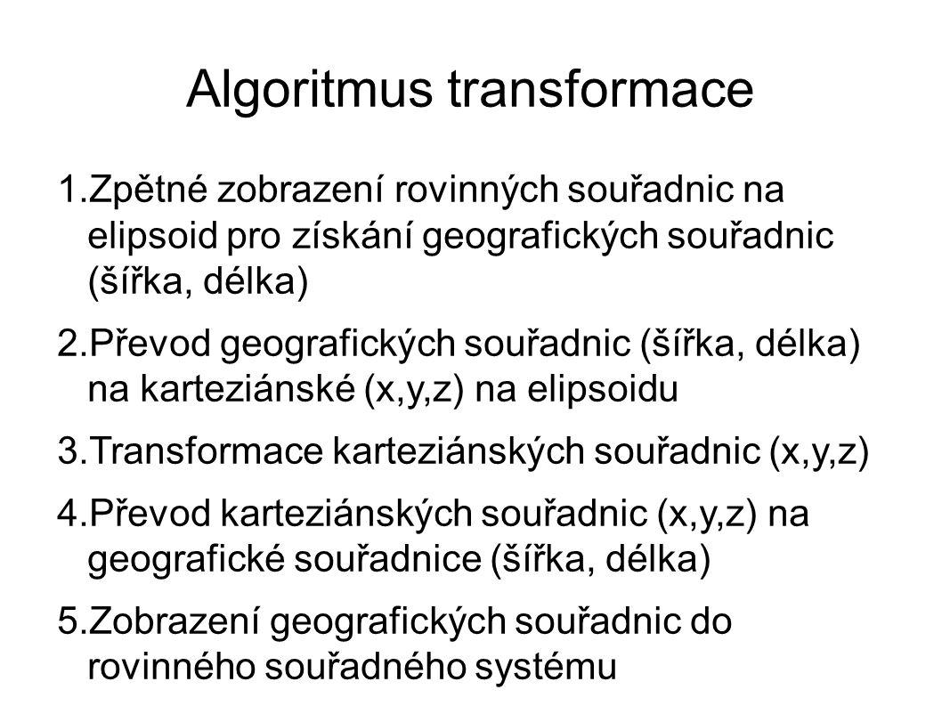 Algoritmus transformace 1.Zpětné zobrazení rovinných souřadnic na elipsoid pro získání geografických souřadnic (šířka, délka) 2.Převod geografických souřadnic (šířka, délka) na karteziánské (x,y,z) na elipsoidu 3.Transformace karteziánských souřadnic (x,y,z) 4.Převod karteziánských souřadnic (x,y,z) na geografické souřadnice (šířka, délka) 5.Zobrazení geografických souřadnic do rovinného souřadného systému