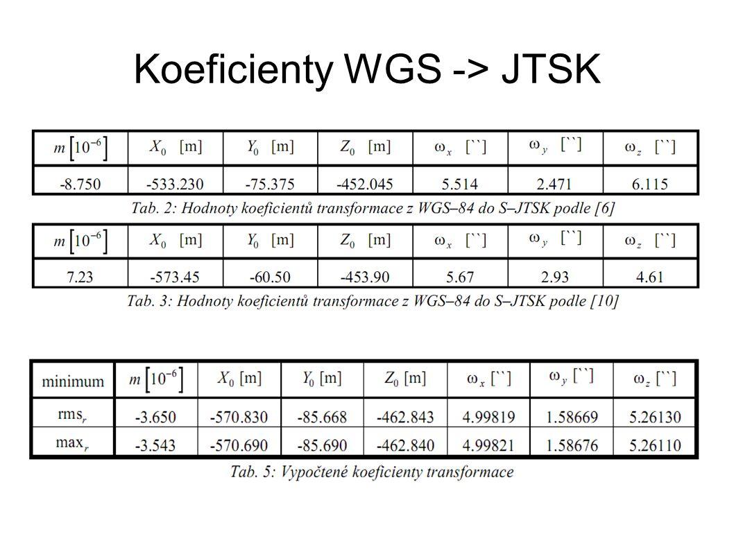 Koeficienty WGS -> JTSK