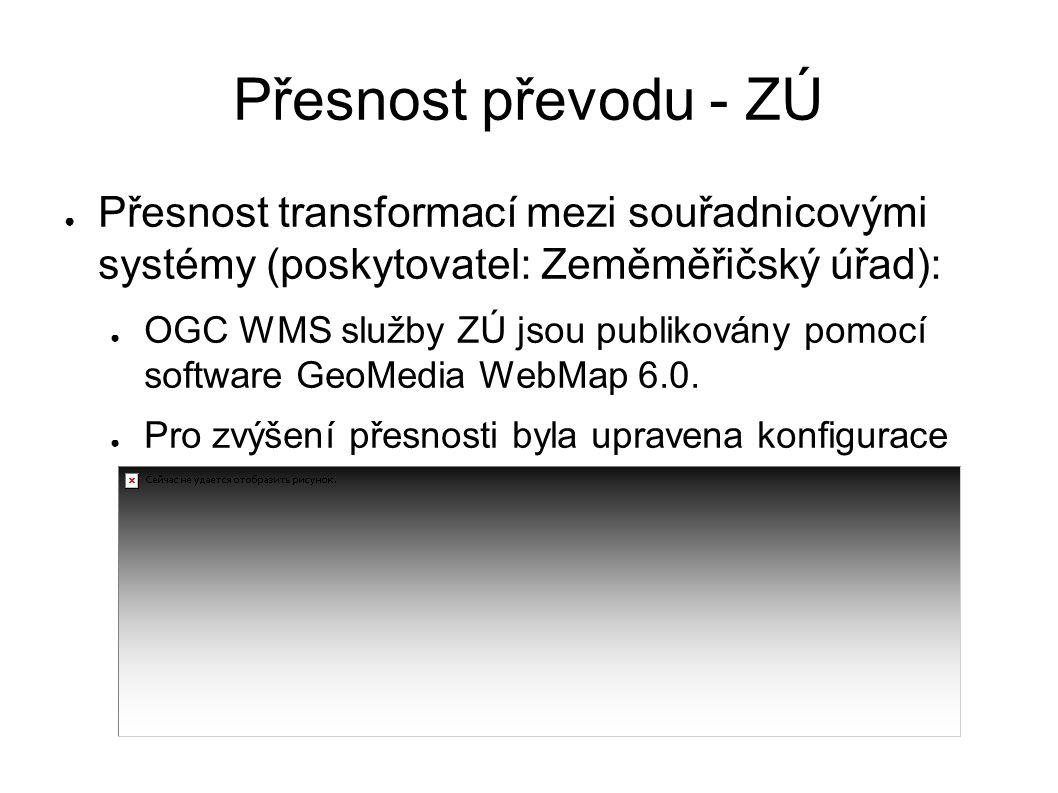 Přesnost převodu - ZÚ ● Přesnost transformací mezi souřadnicovými systémy (poskytovatel: Zeměměřičský úřad): ● OGC WMS služby ZÚ jsou publikovány pomocí software GeoMedia WebMap 6.0.