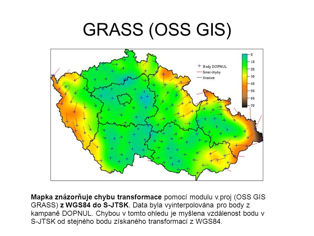 GRASS (OSS GIS) Mapka znázorňuje chybu transformace pomocí modulu v.proj (OSS GIS GRASS) z WGS84 do S-JTSK. Data byla vyinterpolována pro body z kampa