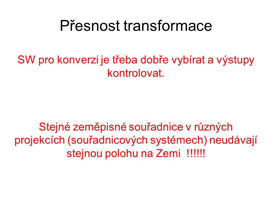 Přesnost transformace SW pro konverzi je třeba dobře vybírat a výstupy kontrolovat. Stejné zeměpisné souřadnice v různých projekcích (souřadnicových s