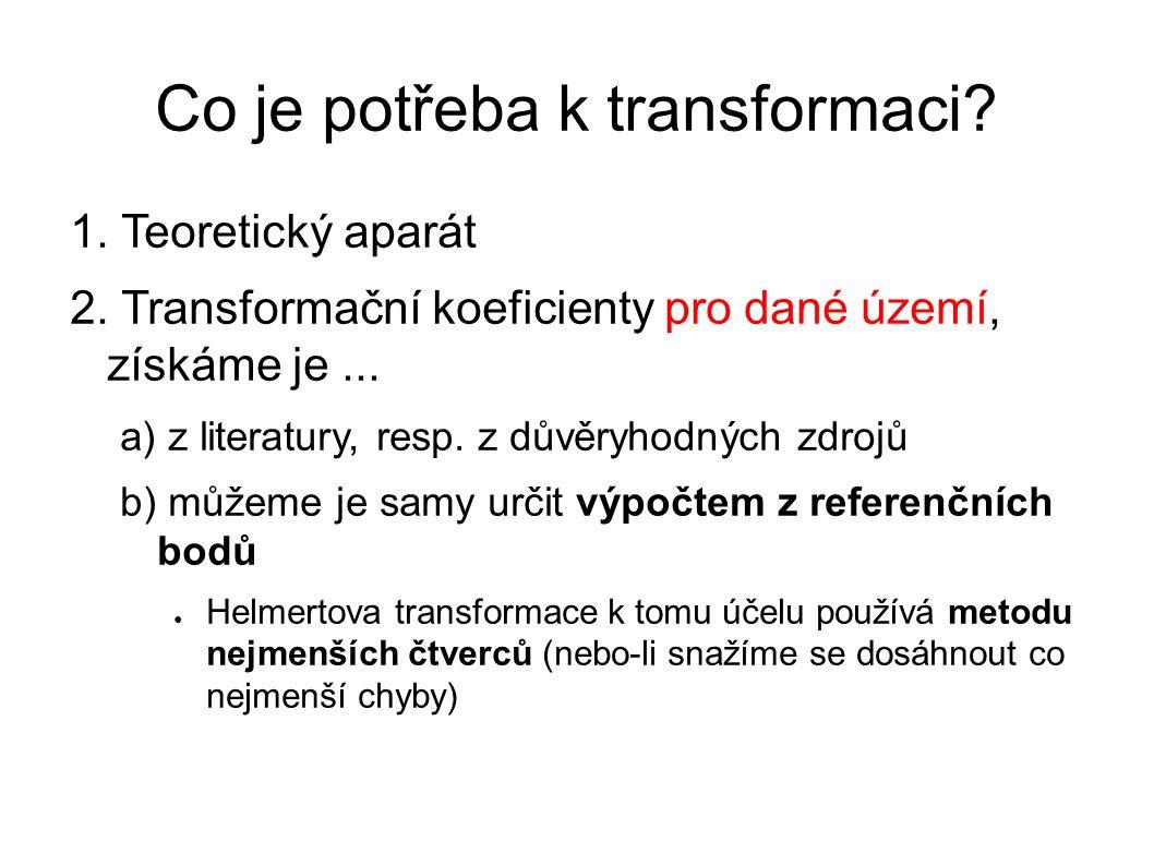 Co je potřeba k transformaci? 1. Teoretický aparát 2. Transformační koeficienty pro dané území, získáme je... a) z literatury, resp. z důvěryhodných z