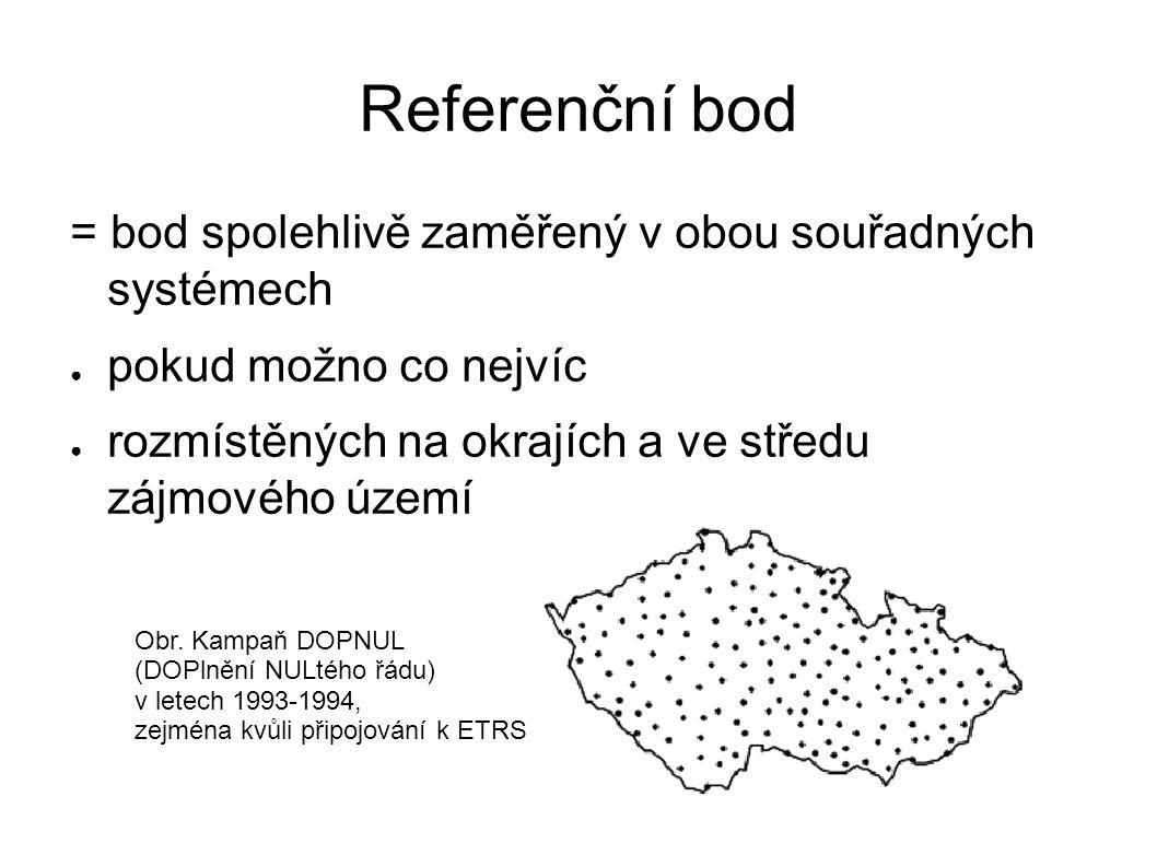 Referenční bod = bod spolehlivě zaměřený v obou souřadných systémech ● pokud možno co nejvíc ● rozmístěných na okrajích a ve středu zájmového území Obr.