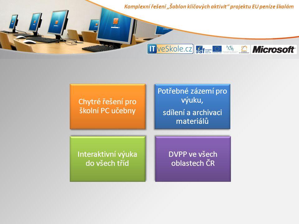 """Komplexní řešení """"Šablon klíčových aktivit projektu EU peníze školám Chytré řešení pro školní PC učebny Chytré řešení pro školní PC učebny Potřebné zázemí pro výuku, sdílení a archivaci materiálů Potřebné zázemí pro výuku, sdílení a archivaci materiálů Interaktivní výuka do všech tříd Interaktivní výuka do všech tříd DVPP ve všech oblastech ČR DVPP ve všech oblastech ČR"""