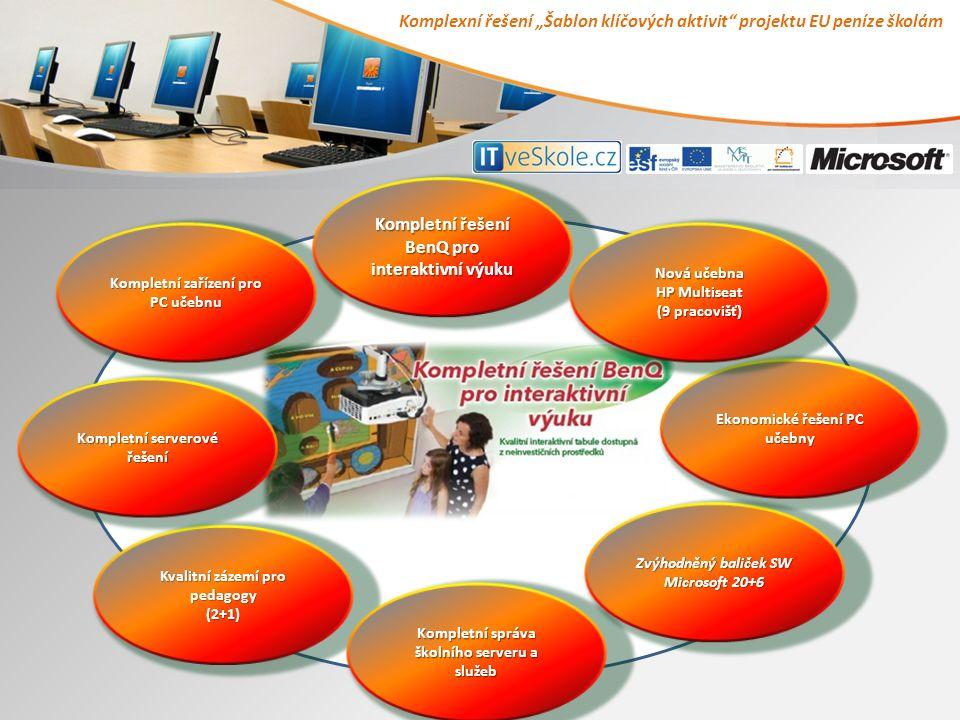 """Komplexní řešení """"Šablon klíčových aktivit projektu EU peníze školám Kvalitní zázemí pro pedagogy (2+1) Kvalitní zázemí pro pedagogy (2+1) Kompletní serverové řešení Kompletní serverové řešení Kompletní správa školního serveru a služeb Kompletní správa školního serveru a služeb Kompletní zařízení pro PC učebnu Kompletní zařízení pro PC učebnu Kompletní řešení BenQ pro interaktivní výuku Kompletní řešení BenQ pro interaktivní výuku Zvýhodněný baliček SW Microsoft 20+6 Zvýhodněný baliček SW Microsoft 20+6 Ekonomické řešení PC učebny Ekonomické řešení PC učebny Nová učebna Nová učebna HP Multiseat HP Multiseat (9 pracovišť) (9 pracovišť)"""