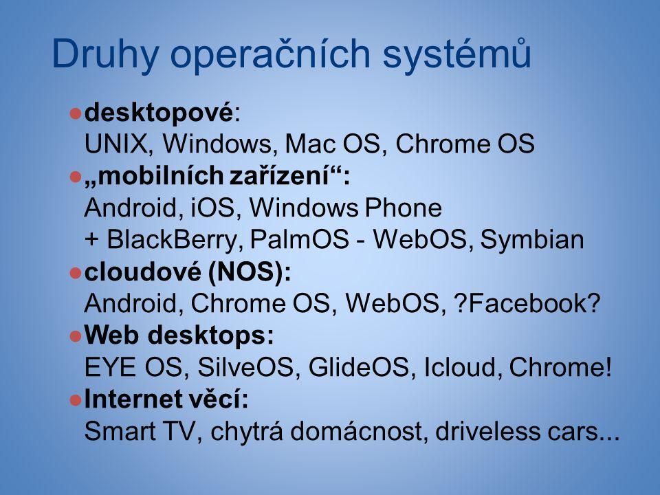 """Druhy operačních systémů ●desktopové: UNIX, Windows, Mac OS, Chrome OS ●""""mobilních zařízení : Android, iOS, Windows Phone + BlackBerry, PalmOS - WebOS, Symbian ●cloudové (NOS): Android, Chrome OS, WebOS, Facebook."""