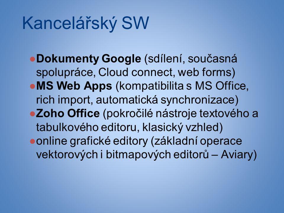 Kancelářský SW ●Dokumenty Google (sdílení, současná spolupráce, Cloud connect, web forms) ●MS Web Apps (kompatibilita s MS Office, rich import, automatická synchronizace) ●Zoho Office (pokročilé nástroje textového a tabulkového editoru, klasický vzhled) ●online grafické editory (základní operace vektorových i bitmapových editorů – Aviary)