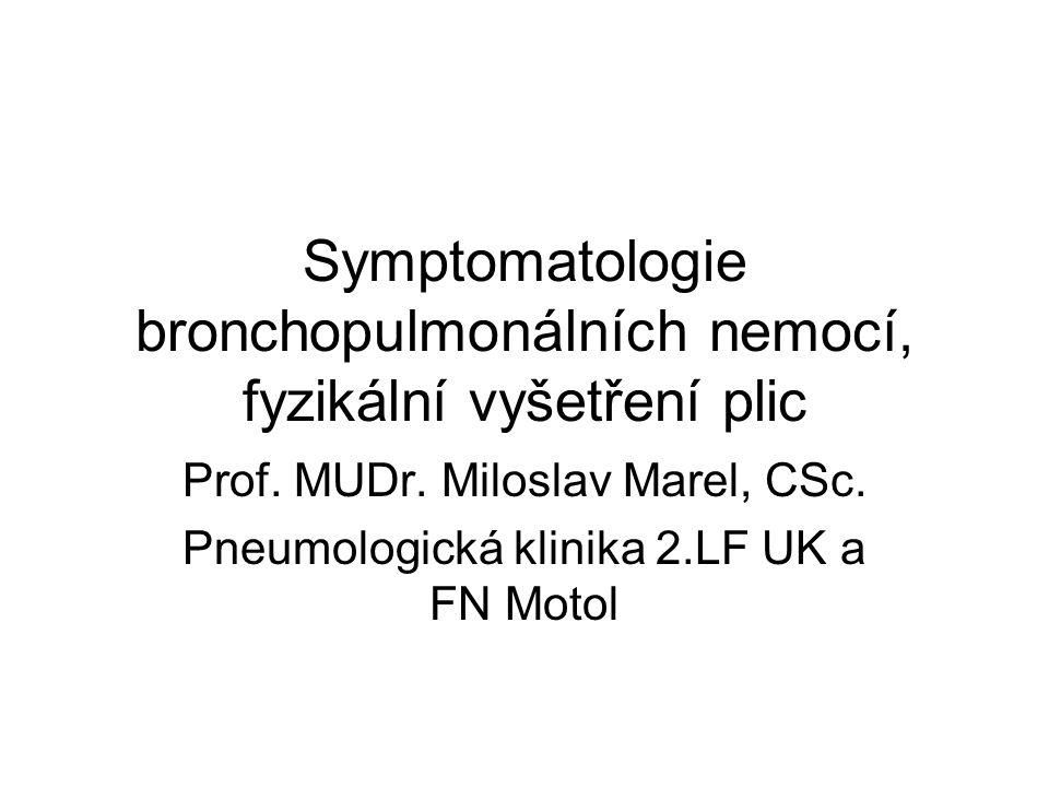 Symptomatologie bronchopulmonálních nemocí, fyzikální vyšetření plic Prof. MUDr. Miloslav Marel, CSc. Pneumologická klinika 2.LF UK a FN Motol