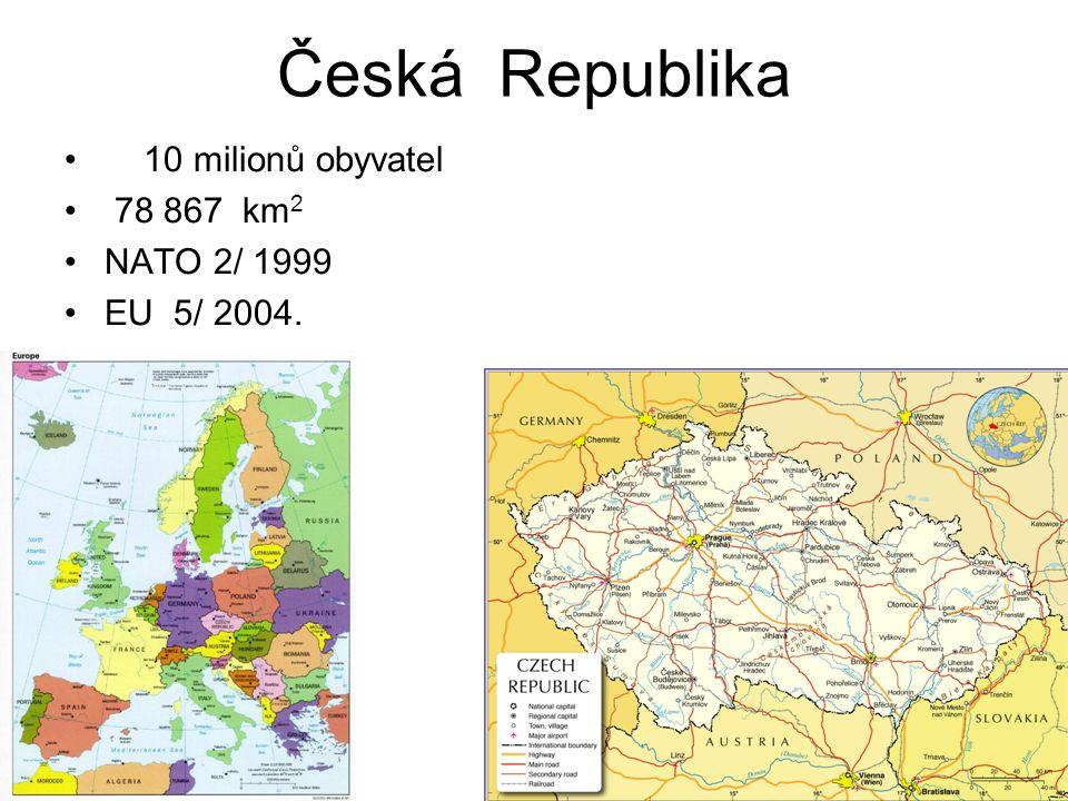 Česká Republika 10 milionů obyvatel 78 867 km 2 NATO 2/ 1999 EU 5/ 2004.
