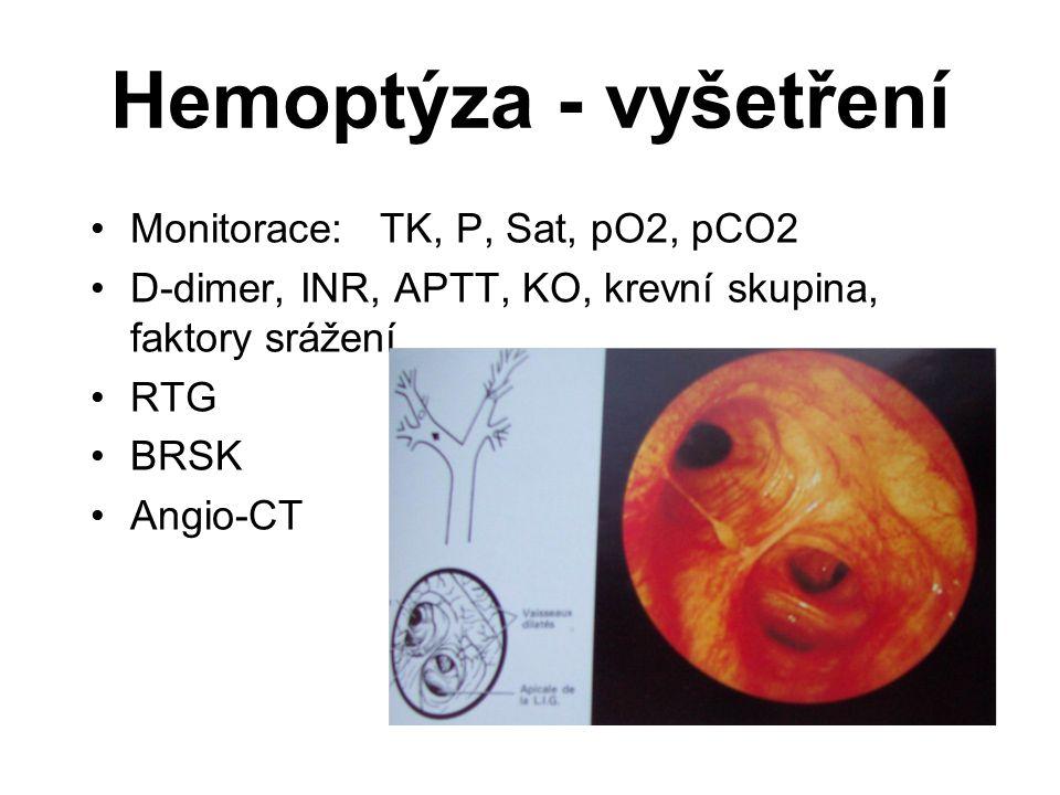 Hemoptýza - vyšetření Monitorace: TK, P, Sat, pO2, pCO2 D-dimer, INR, APTT, KO, krevní skupina, faktory srážení RTG BRSK Angio-CT