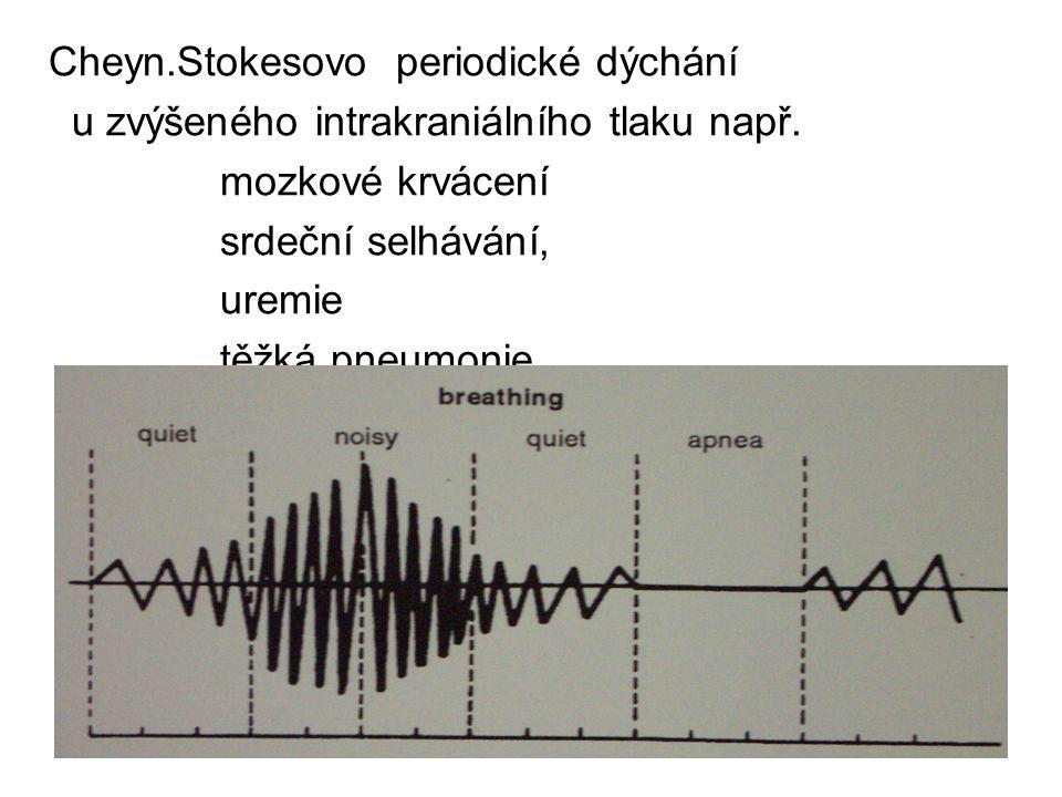 Cheyn.Stokesovo periodické dýchání u zvýšeného intrakraniálního tlaku např. mozkové krvácení srdeční selhávání, uremie těžká pneumonie