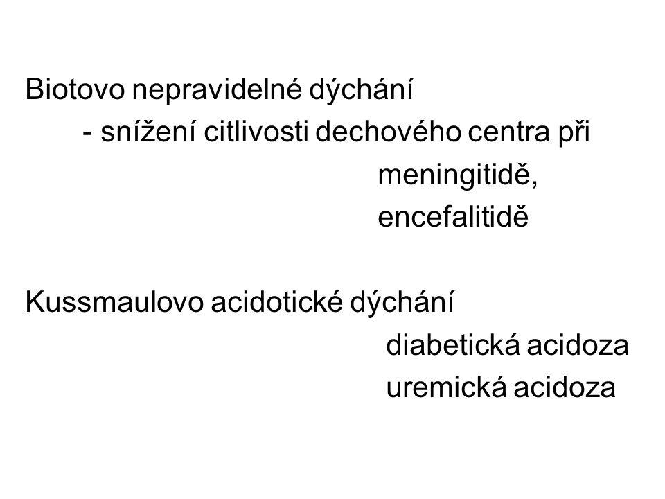 Biotovo nepravidelné dýchání - snížení citlivosti dechového centra při meningitidě, encefalitidě Kussmaulovo acidotické dýchání diabetická acidoza ure