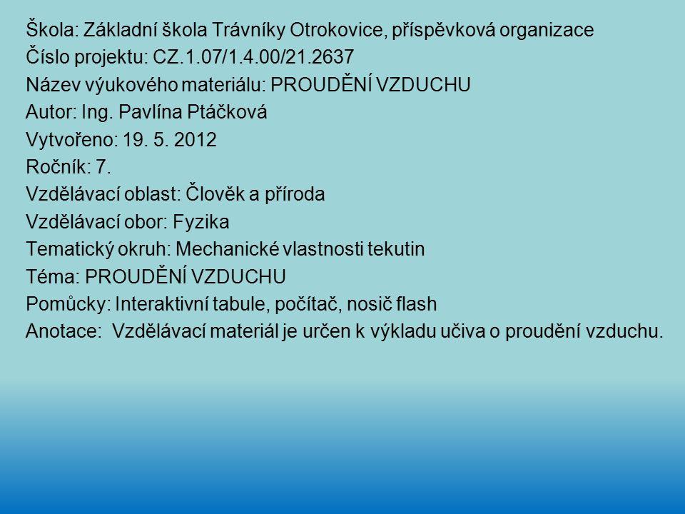 Škola: Základní škola Trávníky Otrokovice, příspěvková organizace Číslo projektu: CZ.1.07/1.4.00/21.2637 Název výukového materiálu: PROUDĚNÍ VZDUCHU Autor: Ing.
