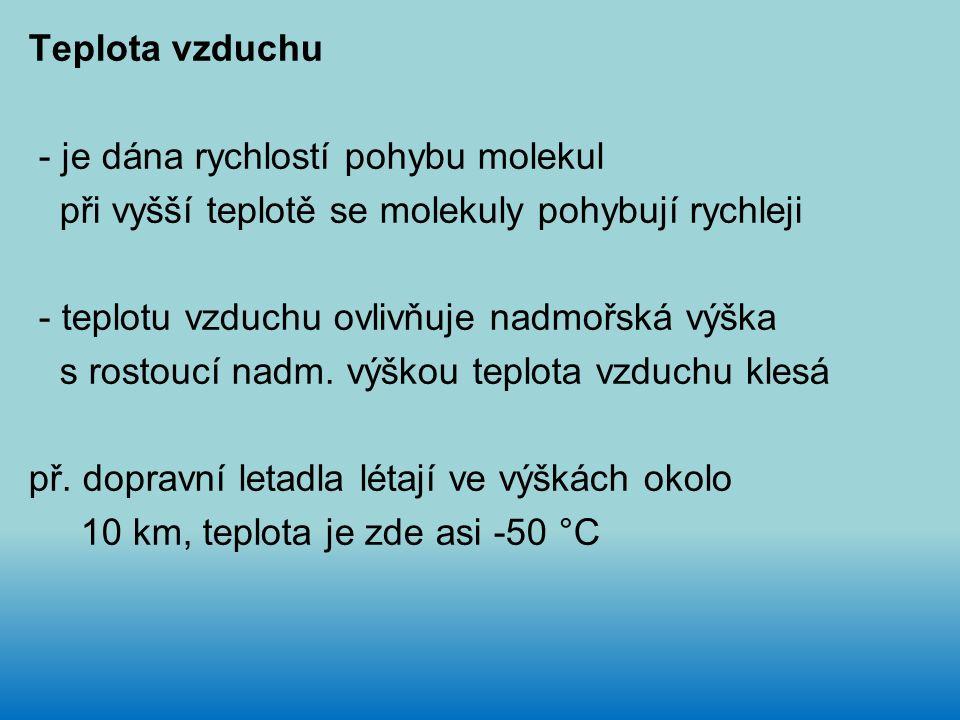 Teplota vzduchu - je dána rychlostí pohybu molekul při vyšší teplotě se molekuly pohybují rychleji - teplotu vzduchu ovlivňuje nadmořská výška s rostoucí nadm.