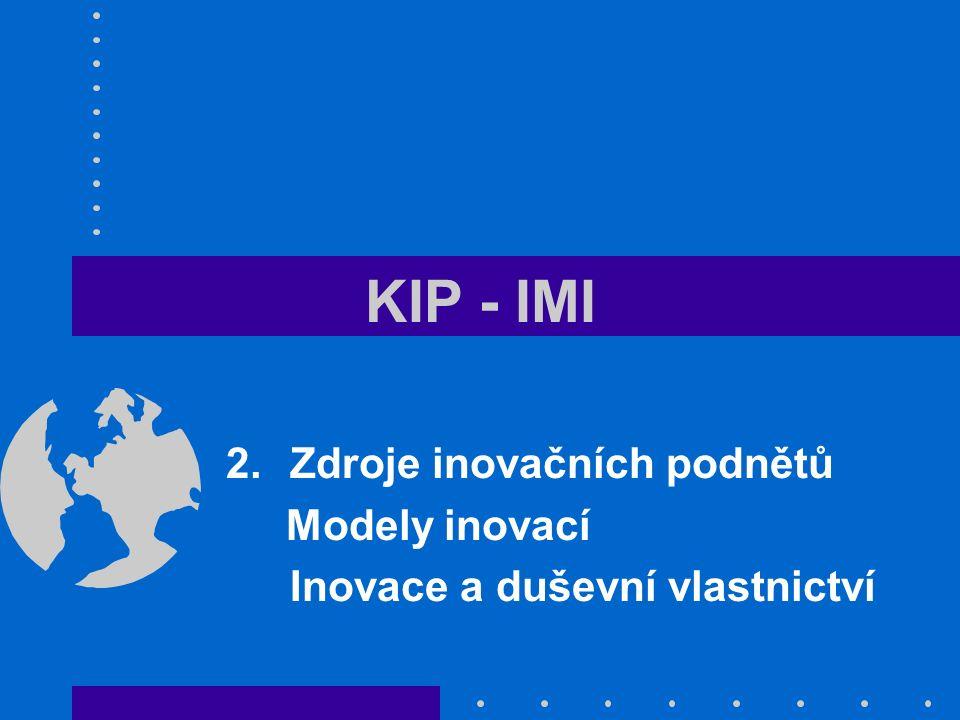 KIP - IMI 2.Zdroje inovačních podnětů Modely inovací Inovace a duševní vlastnictví
