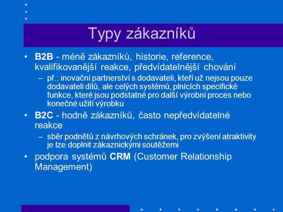Typy zákazníků B2B - méně zákazníků, historie, reference, kvalifikovanější reakce, předvídatelnější chování –př.: inovační partnerství s dodavateli, k