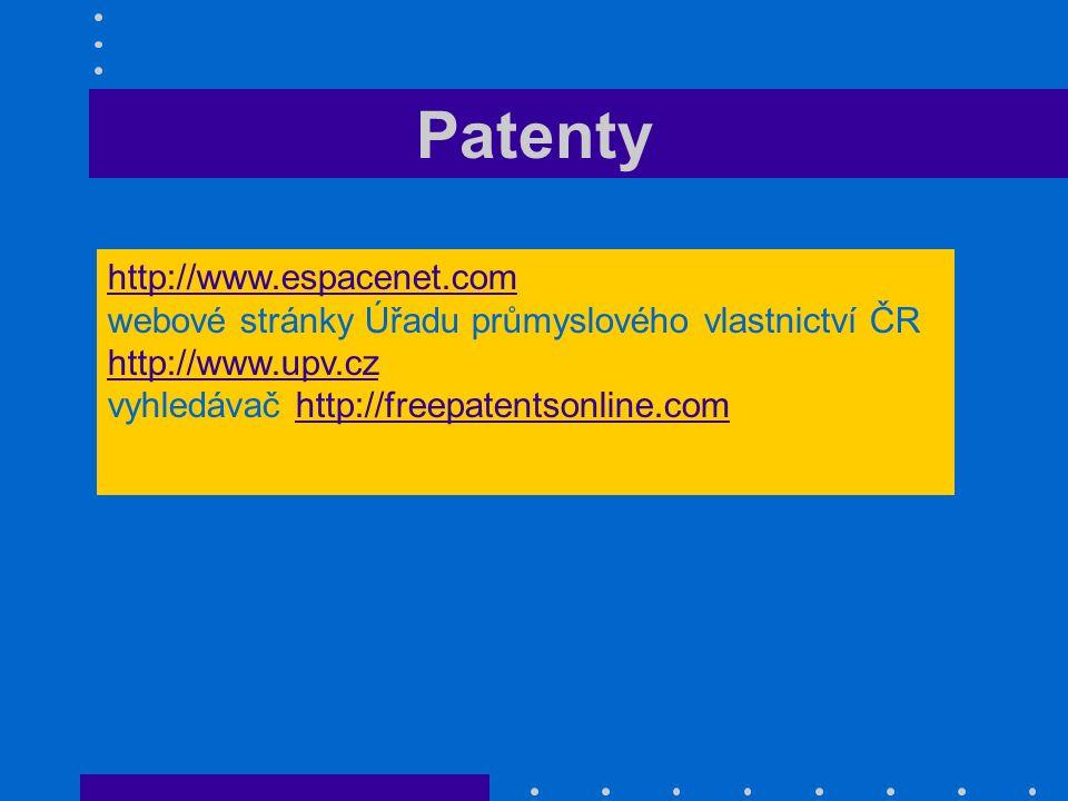 Patenty http://www.espacenet.com webové stránky Úřadu průmyslového vlastnictví ČR http://www.upv.cz http://www.upv.cz vyhledávač http://freepatentsonl