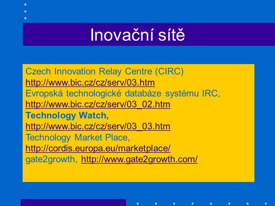 Inovační sítě Czech Innovation Relay Centre (CIRC) http://www.bic.cz/cz/serv/03.htm Evropská technologické databáze systému IRC, http://www.bic.cz/cz/