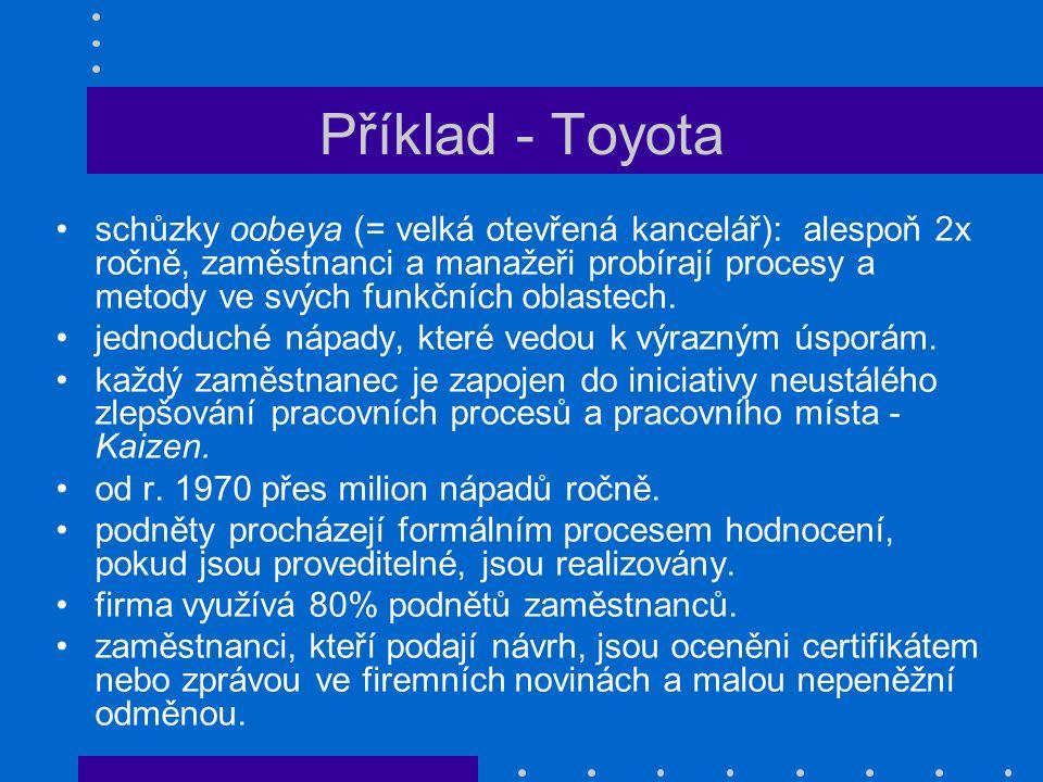 Příklad - Toyota schůzky oobeya (= velká otevřená kancelář): alespoň 2x ročně, zaměstnanci a manažeři probírají procesy a metody ve svých funkčních ob