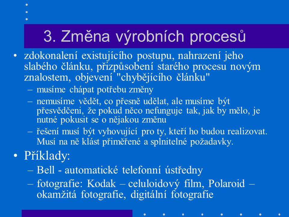 3. Změna výrobních procesů zdokonalení existujícího postupu, nahrazení jeho slabého článku, přizpůsobení starého procesu novým znalostem, objevení
