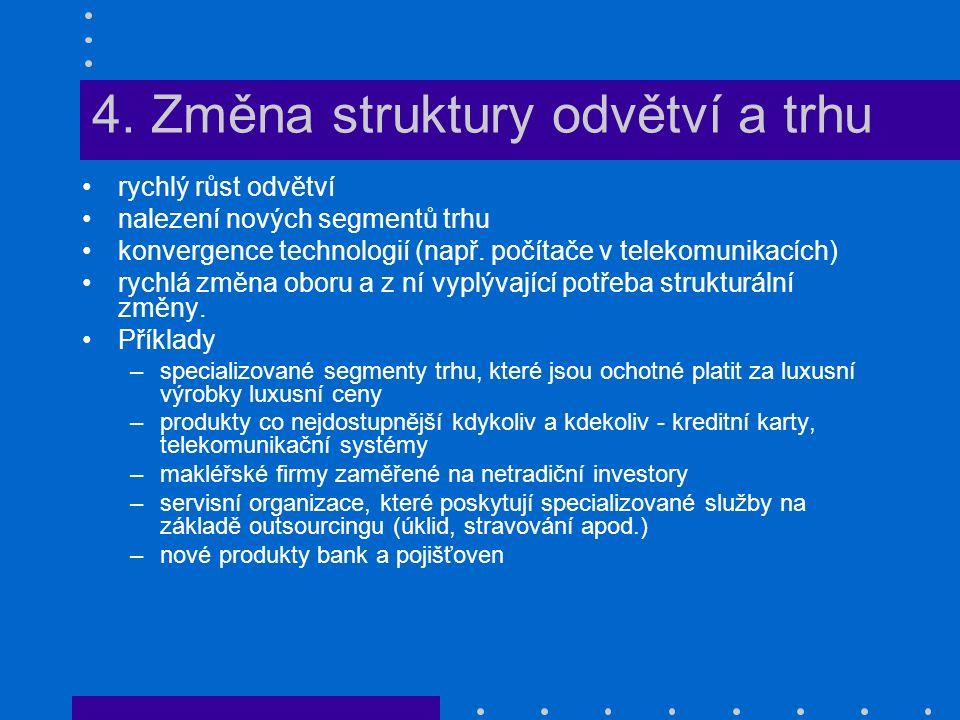 4. Změna struktury odvětví a trhu rychlý růst odvětví nalezení nových segmentů trhu konvergence technologií (např. počítače v telekomunikacích) rychlá