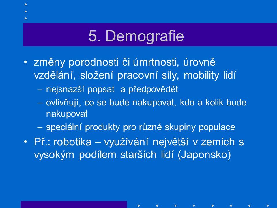 5. Demografie změny porodnosti či úmrtnosti, úrovně vzdělání, složení pracovní síly, mobility lidí –nejsnazší popsat a předpovědět –ovlivňují, co se b