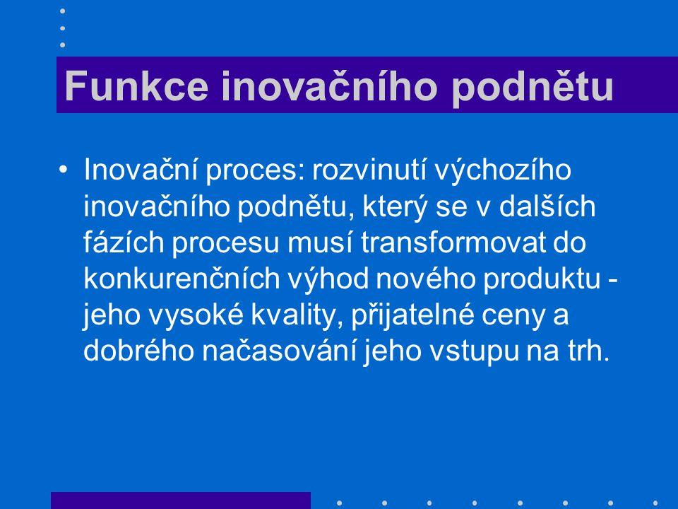 Funkce inovačního podnětu Inovační proces: rozvinutí výchozího inovačního podnětu, který se v dalších fázích procesu musí transformovat do konkurenční