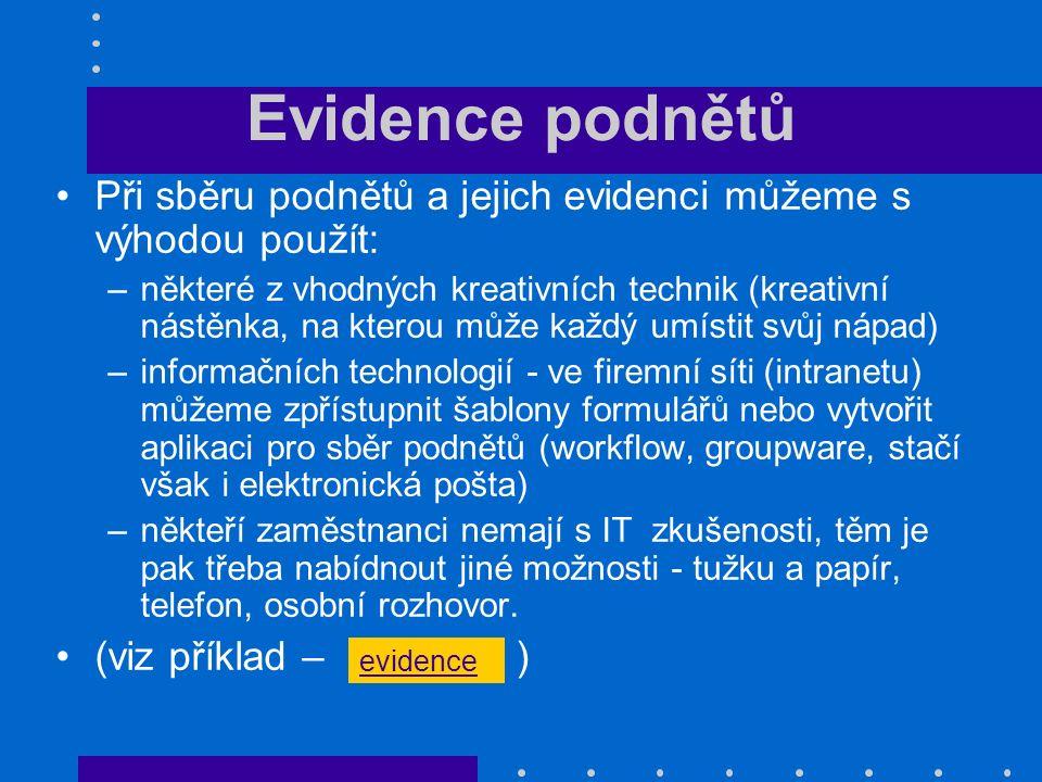 Evidence podnětů Při sběru podnětů a jejich evidenci můžeme s výhodou použít: –některé z vhodných kreativních technik (kreativní nástěnka, na kterou m