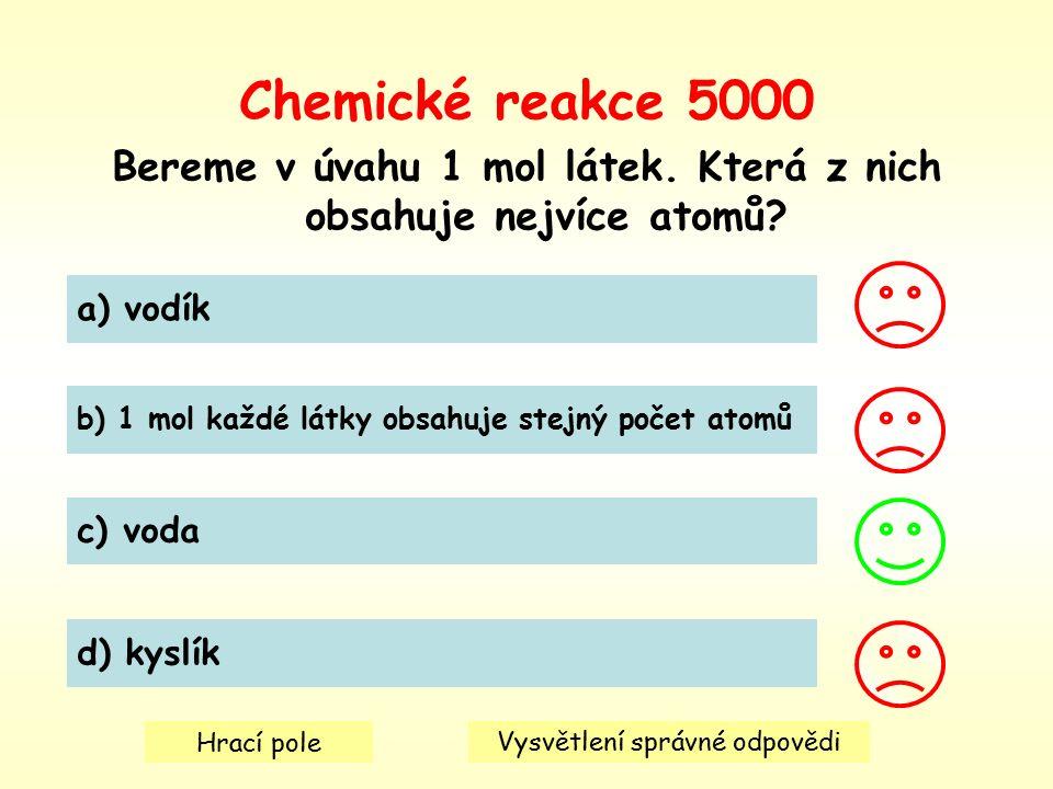Chemické reakce 5000 Bereme v úvahu 1 mol látek. Která z nich obsahuje nejvíce atomů.